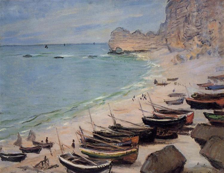 Bateaux sur la plage Étretat - Claude Monet