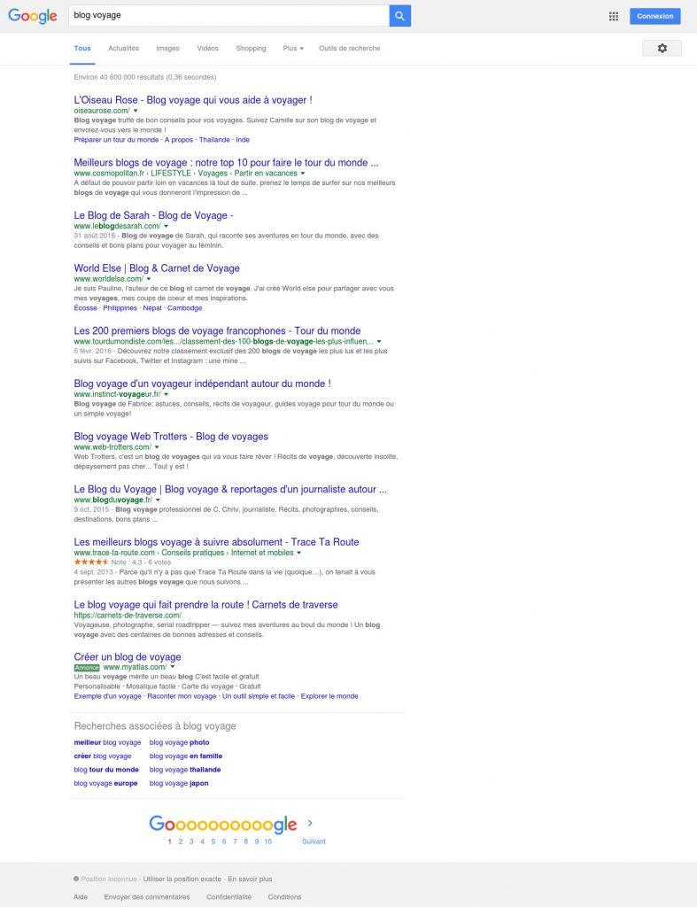 Requete Google Blog Voyage